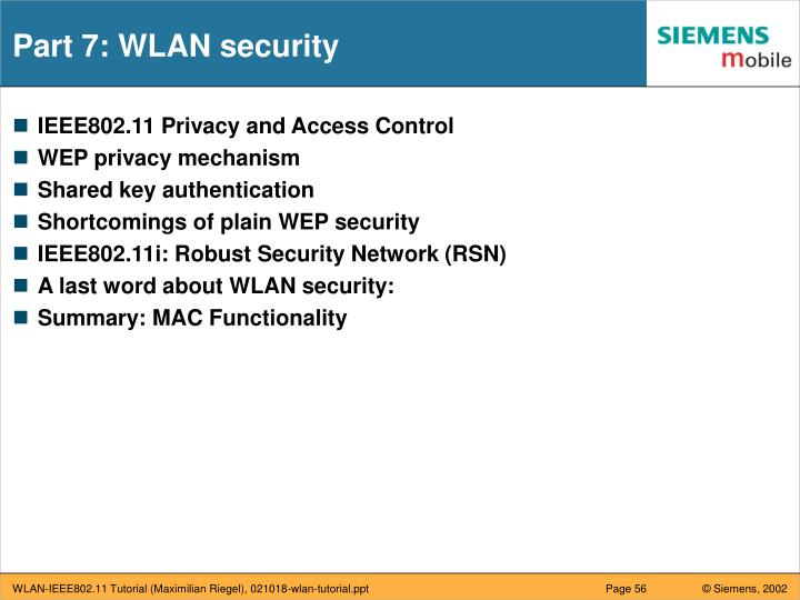 Part 7: WLAN security