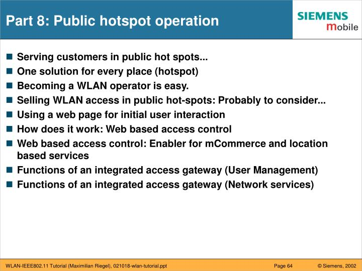 Part 8: Public hotspot operation