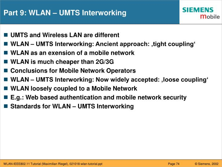 Part 9: WLAN – UMTS Interworking
