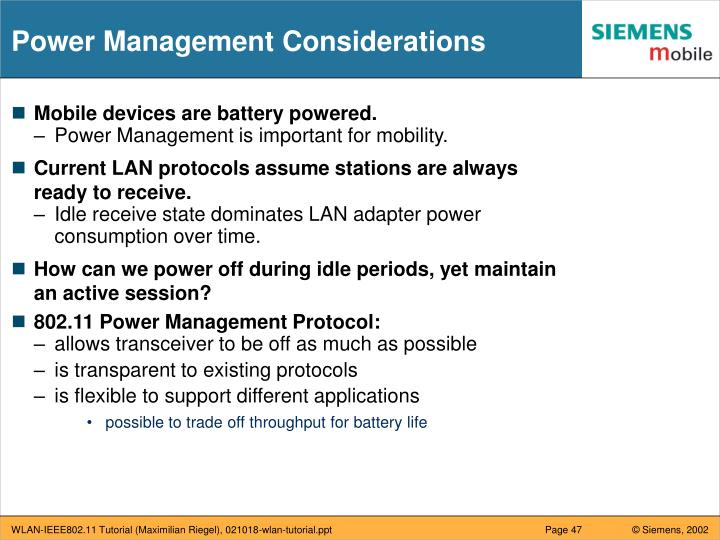 Power Management Considerations