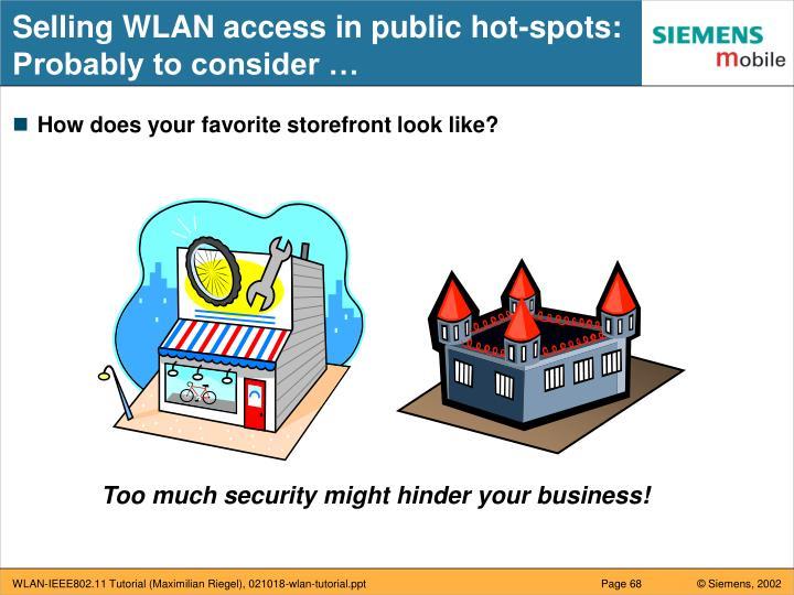 Selling WLAN access in public hot-spots: