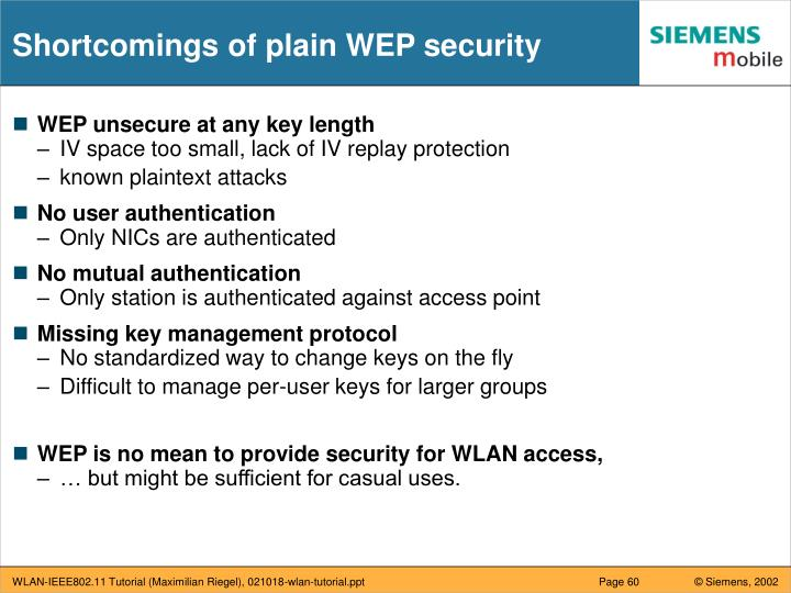 Shortcomings of plain WEP security