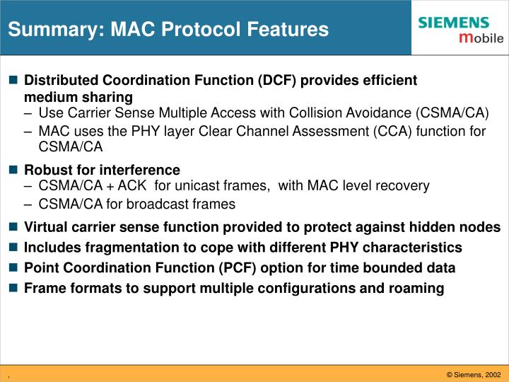 Summary: MAC Protocol Features