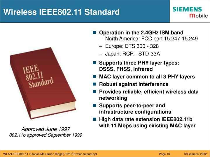 Wireless IEEE802.11 Standard