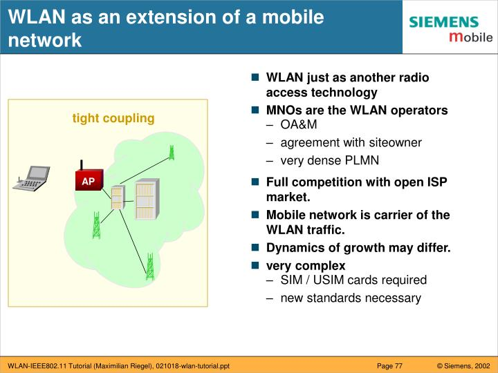 WLAN as an extension of a mobile network