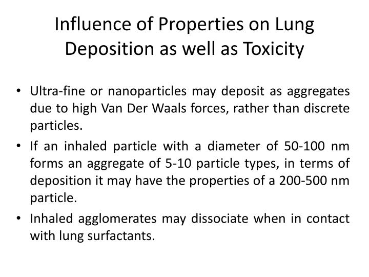 Influence of Properties on Lung Deposition as well as Toxicity