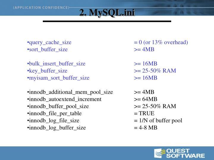 2. MySQL.ini