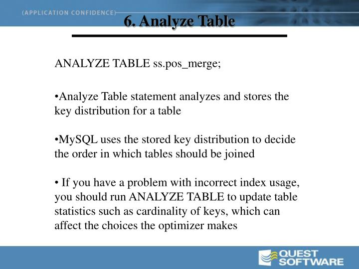 6. Analyze Table