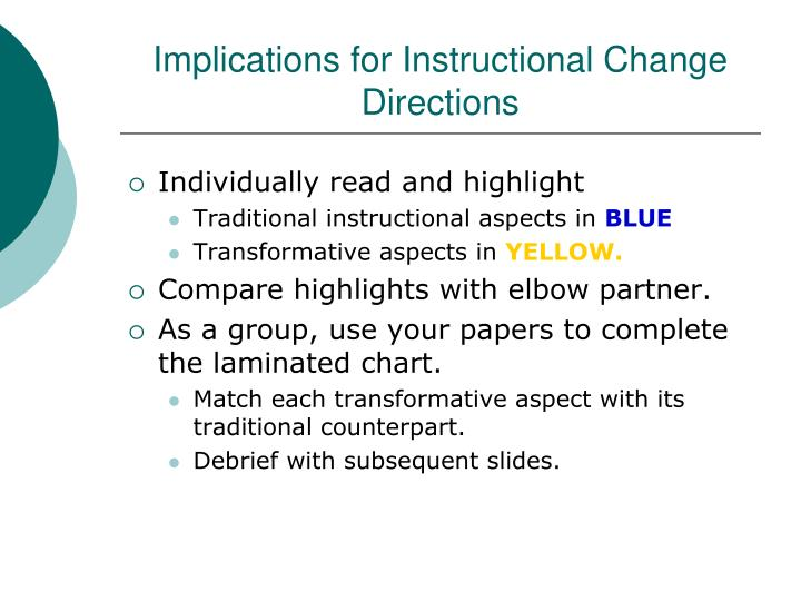 Implications for Instructional Change
