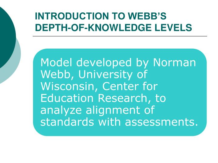 INTRODUCTION TO WEBB'S DEPTH-OF-KNOWLEDGE LEVELS