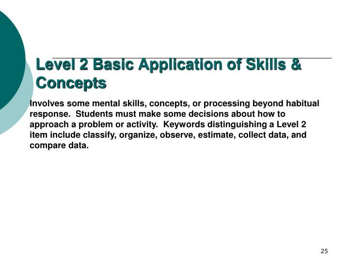 Level 2 Basic Application of Skills & Concepts