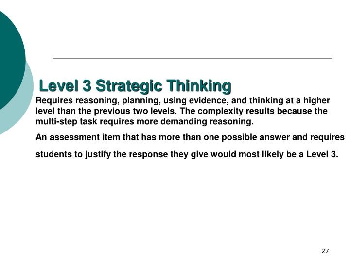 Level 3 Strategic Thinking
