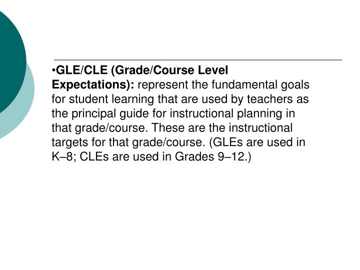 GLE/CLE (Grade/Course Level Expectations):