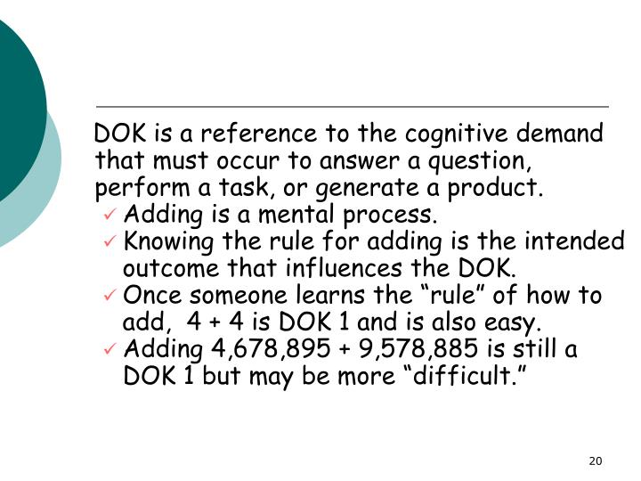 DOK is a reference to the cognitive demand that must occur to answer a question, perform a task, or generate a product.