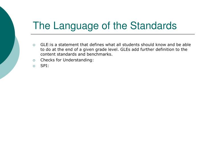 The Language of the Standards