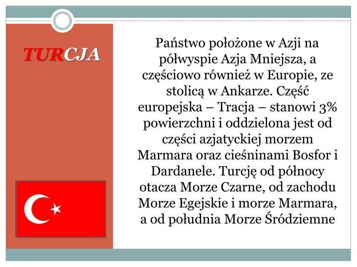 Państwo położone w Azji na półwyspie Azja Mniejsza, a częściowo również w Europie, ze stolicą w Ankarze. Część europejska – Tracja – stanowi 3% powierzchni i oddzielona jest od części azjatyckiej morzem Marmara oraz cieśninami Bosfor i Dardanele. Turcję od północy otacza Morze Czarne, od zachodu Morze Egejskie i morze Marmara, a od południa Morze Śródziemne