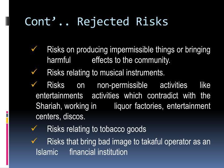 Cont'.. Rejected Risks