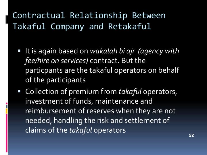 Contractual Relationship Between Takaful Company and