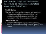 non shariah compliant businesses according to malaysian securities commission guidelines