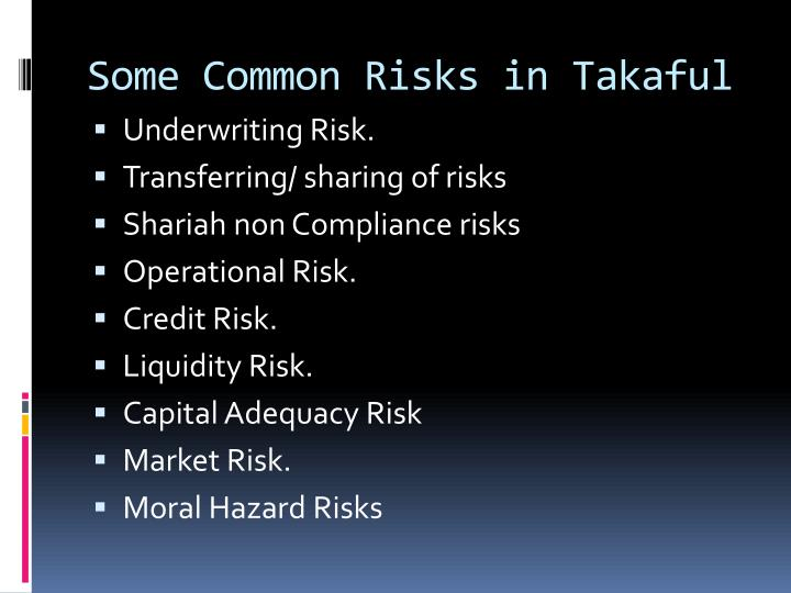 Some common risks in takaful