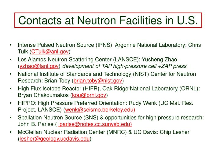 Contacts at Neutron Facilities in U.S.