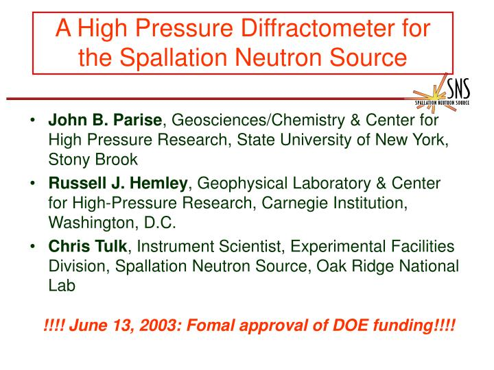 A High Pressure Diffractometer for the Spallation Neutron Source