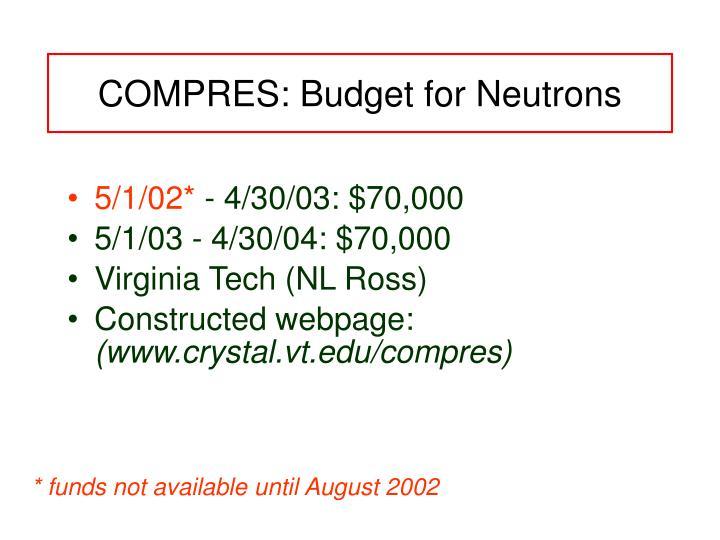 COMPRES: Budget for Neutrons