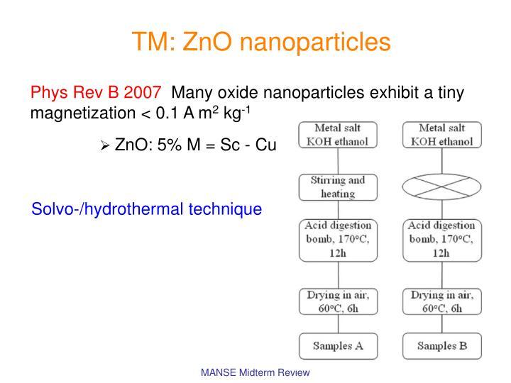TM: ZnO nanoparticles