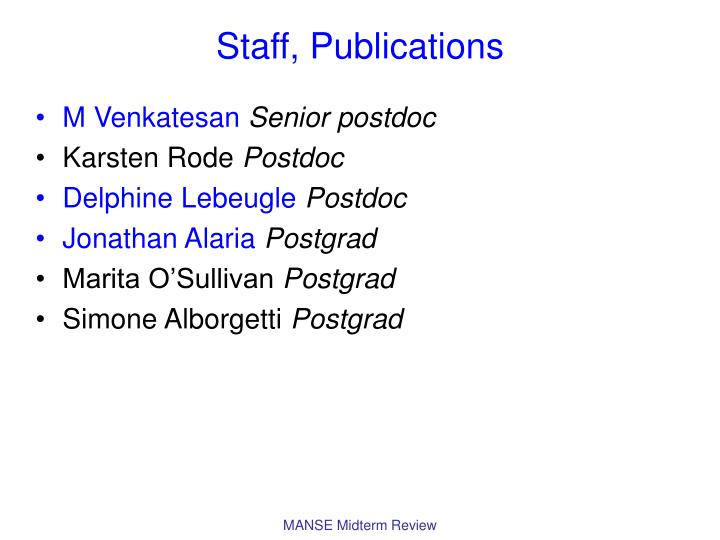 Staff publications