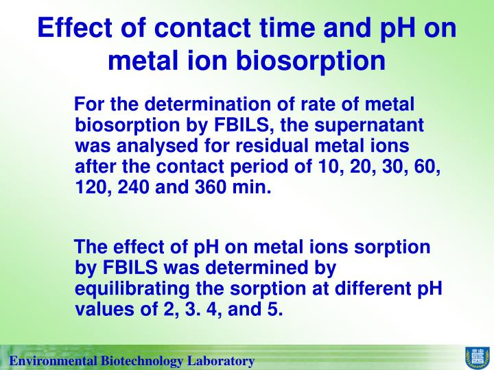 Effect of contact time and pH on metal ion biosorption