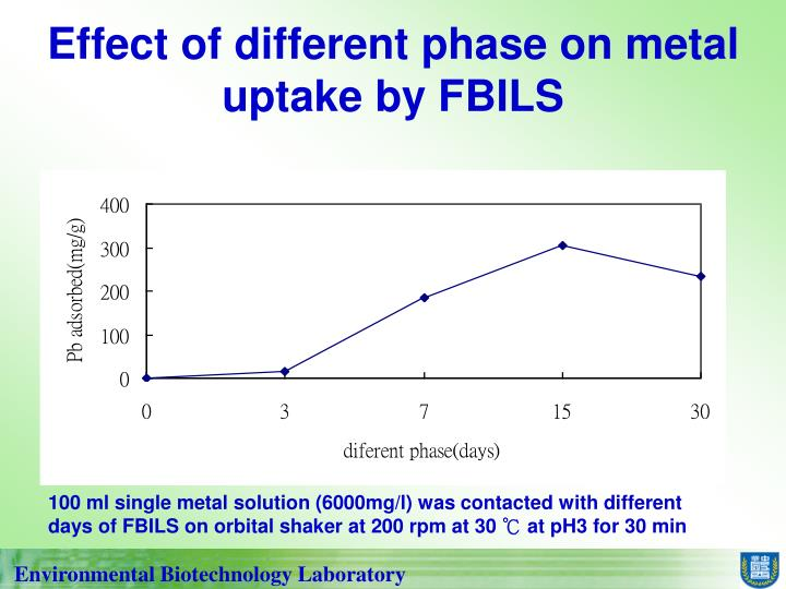 Effect of different phase on metal uptake by FBILS
