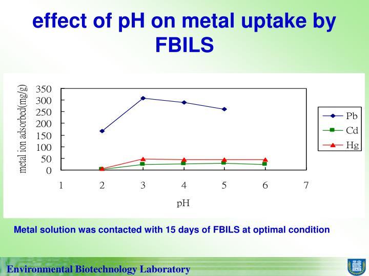 effect of pH on metal uptake by FBILS