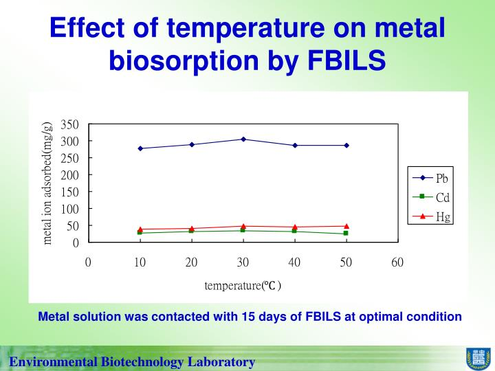 Effect of temperature on metal biosorption by FBILS