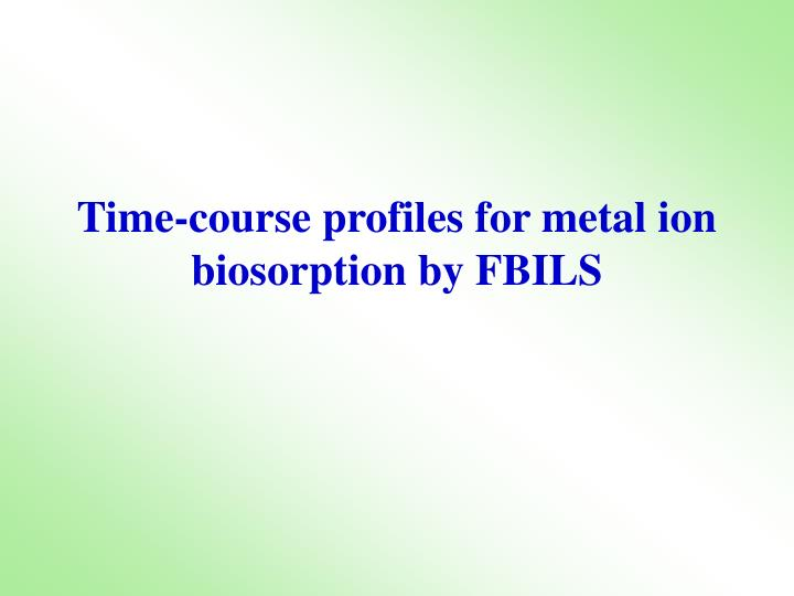 Time-course profiles for metal ion biosorption by FBILS