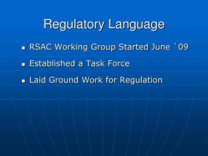 Regulatory Language