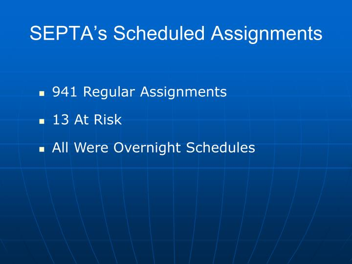 SEPTA's Scheduled Assignments