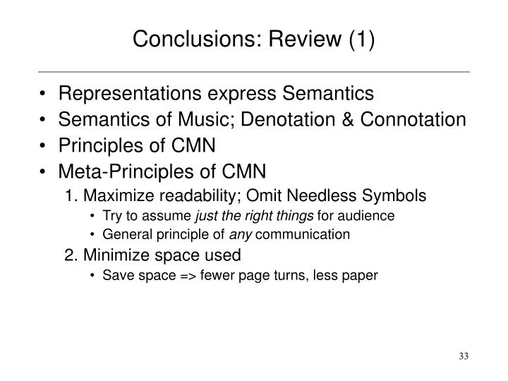 Conclusions: Review (1)