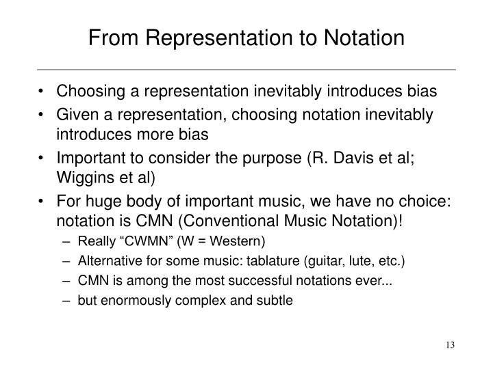 From Representation to Notation