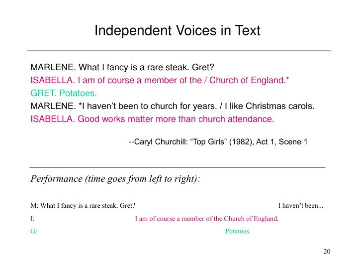 Independent Voices in Text