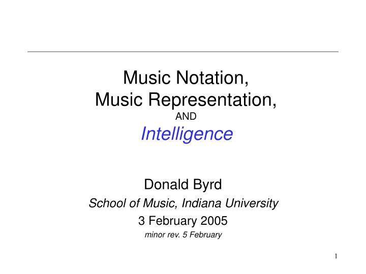 Music notation music representation and intelligence