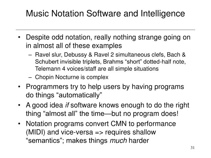 Music Notation Software and Intelligence