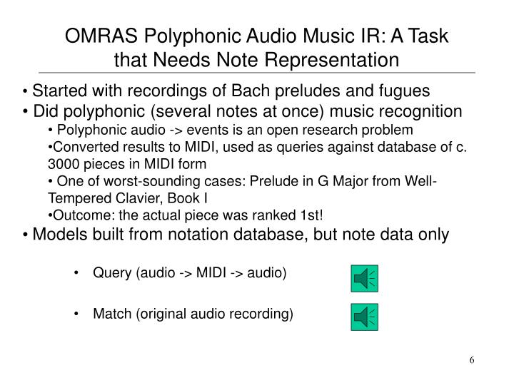 OMRAS Polyphonic Audio Music IR: A Task that Needs Note Representation