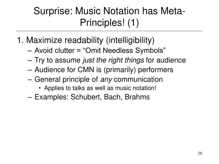 Surprise: Music Notation has Meta-Principles! (1)
