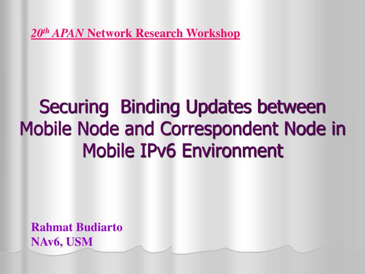 Securing binding updates between mobile node and correspondent node in mobile ipv6 environment