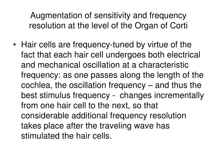 Augmentation of sensitivity and frequency resolution at the level of the Organ of Corti