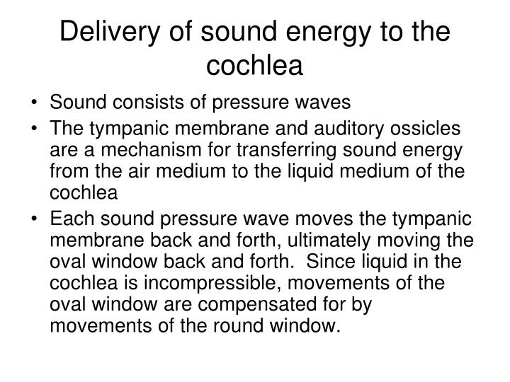 Delivery of sound energy to the cochlea
