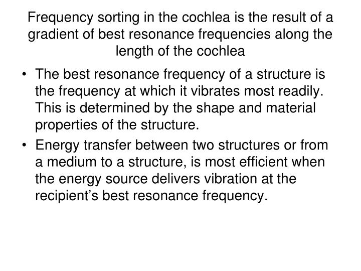 Frequency sorting in the cochlea is the result of a gradient of best resonance frequencies along the length of the cochlea