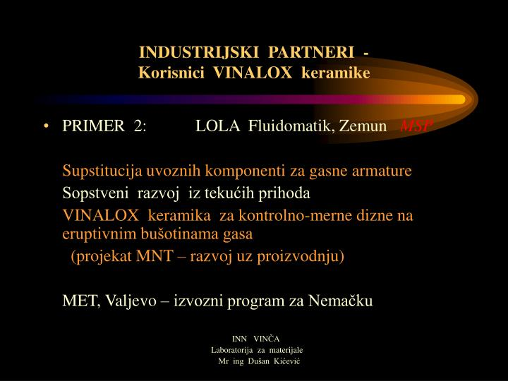 INDUSTRIJSKI  PARTNERI  -