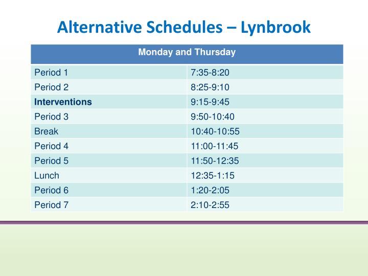 Alternative Schedules – Lynbrook
