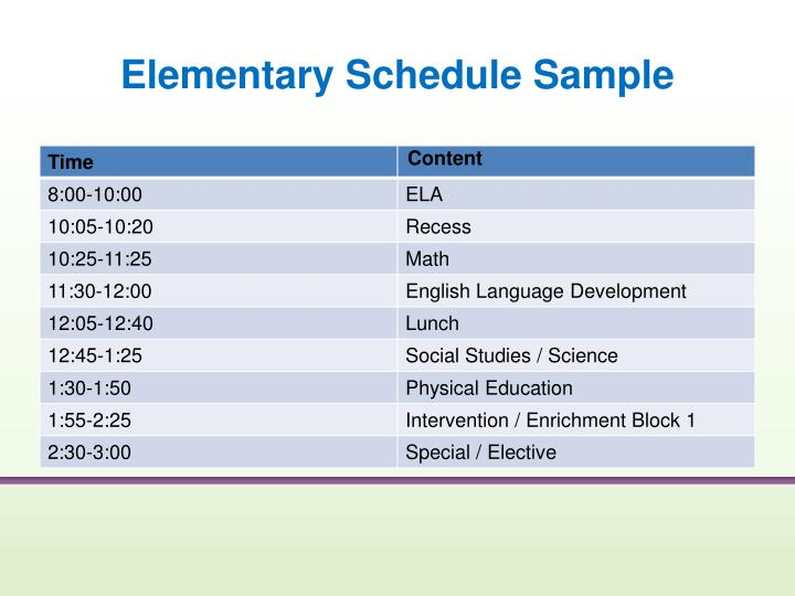 Elementary Schedule Sample